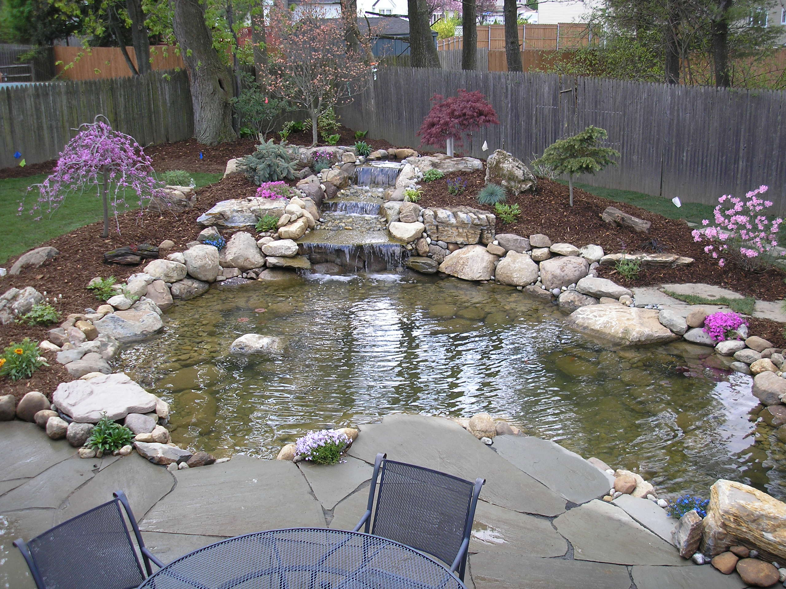 Ideas for garden fish ponds details home landscaping for Backyard pond ideas with waterfall